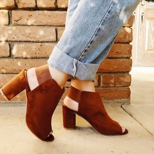 The Cassie Fall Faux Suede Booties in Cognac
